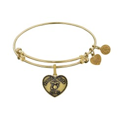 Brass with Yellow Finish Proud Wife U.S. Marine Corps Heart Shaped Angelica Bangle
