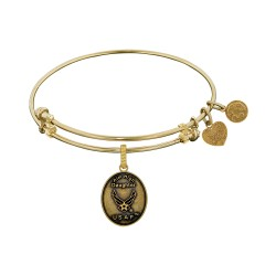 Brass with Yellow Finish Aim High Daughter U.S. Air Force Angelica Bangle