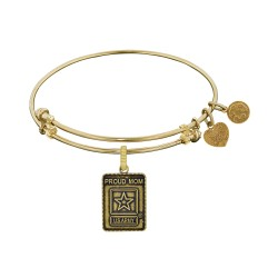 Brass with Yellow Finish U.S. Army Proud Mom Angelica Bangle