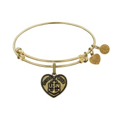 """Brass with Yellow Finish U.S. Navy """"Proud Wife"""" Angelica Bangle"""