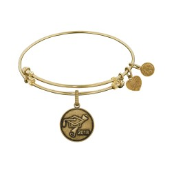 Brass with Yellow Finish Class Of 2018 Graduation Cap+Diploma Charm For Angelica Bangle