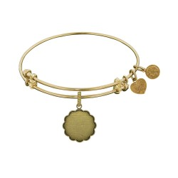 Brass with Yellow Plain Engravable Fancy Round Charm For Angelica Bangle