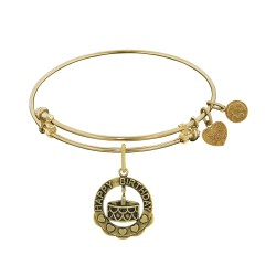 Brass with Yellow Finish Happy Birthday Charm For Angelica Bangle