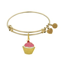 Brass with Yellow Finish Enamel Cupcake Charm For Angelica Bangle
