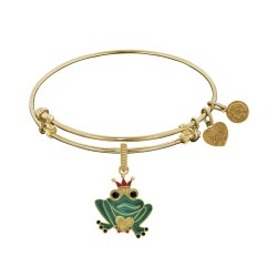 Brass with Yellow Enamel Frog Charm For Angelica Bangle