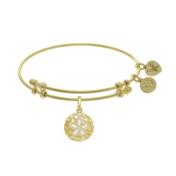 Brass with Yellow Sanddollar Charm with White C Z On Yellow Bangle
