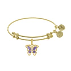 Brass with White Butterfly Charm with Purple+White Cz On Yellow Bangle