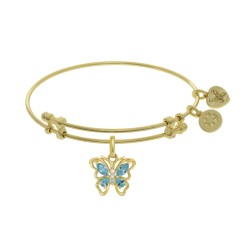 Brass with Yellow Butterfly Charm with Lite Blue +Center White Cz On Yellow Bangle