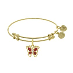 Brass with Yellow Butterfly Charm with Red+Center White Cz On Yellow Bangle