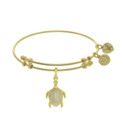 Brass with Yellow Turtle Charm with White Cz On Ye Llow Bangle