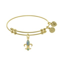 Brass with Yellow Fleur De Lis Charm with Created Opal On Yellow Bangle