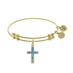 Brass with Yellow Cross Charm with Created Opal On Angelica Bangle