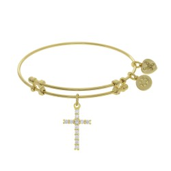 Brass with Yellow Cross Charm with White Cz On Yel Low Bangle