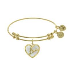 """Brass with Yellow """"Love"""" Heart Charm with Created Mother Of Pearl On Yellow Bangle"""