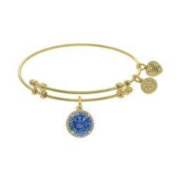 Brass with March Birthstone On Yellow Angelica Bangle