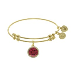Brass with On White July Birthstone On Yellow Bangle