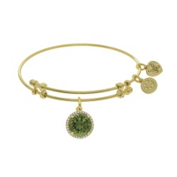 Brass with August Birthstone On Yellow Angelica Bangle