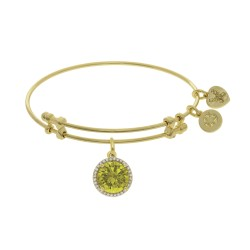 Brass with November Bithstone On Yellow Angelica Bangle