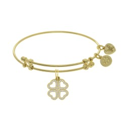 Brass with Yellow Heart Clover Charm with White Cz On Yellow Bangle