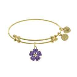 Brass with Yellow 5-Heart Flower Charm with Purple Cz+Small Center White Cz On Yellow Bangle