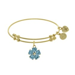 Brass with Yellow 5-Heart Flower Charm with Lite Blue+Small Center White Cz On Yellow Bangle