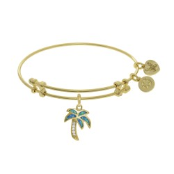 Brass with Yellow Created Opal Palm Tree Charm On Yellow Bangle