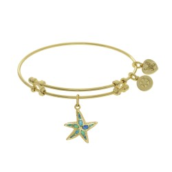 Brass with Yellow Created Opal Starfish Charm On Yellow Bangle