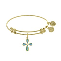 Brass with Yellow Created Opal Cross Charm On Yell Ow Bangle