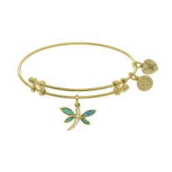 Brass with Yellow Created Opal Dragonfly Charm On Yellow Bangle