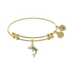 Brass with Yellow Created Opal Single Dolphin Charm On Yellow Bangle