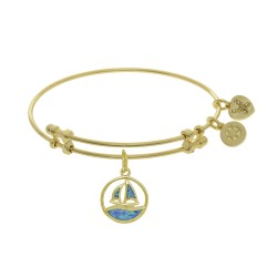 Brass with Yellow Created Opal Sail Boat Charm On Yellow Bangle
