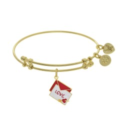 Brass with Yellow Red+White Enamel Love Letter with Heart+Arrow Charm On Yellow Bangle