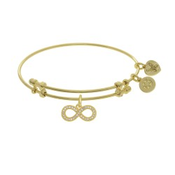 Brass with Yellow Finish Infinity Charm On Yellow Angelica Bangle