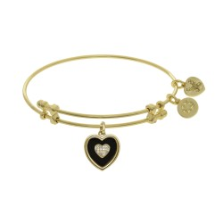 Brass with Yellow Finish Charm Black Onyx with Cz Heart On Yellow Angelica Bangle