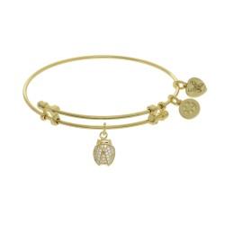 Brass with Yellow Finish Charm with White Cz Ladybug On Yellow Angelica Bangle