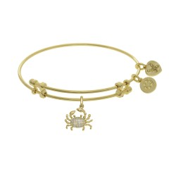 Brass with Yellow Finish Crab Charm with White Cz N Yellow Angelica Bangle