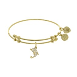 Brass with Yellow Charm with Cz Single Dolphin On Yellow Angelica Bangle