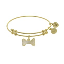 Brass with Yellow Finish Charm with White Cz On Ye Llow Angelica Bangle Bone