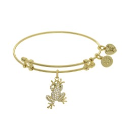 Brass with Yellow Finish Frog Charm with White Cz On Yellow Angelica Bangle