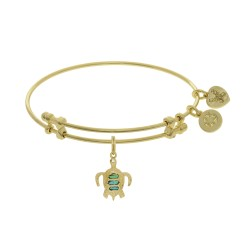 Brass with Yellow Finish Charm with Created Opal Turtle On Yellow Angelica Bangle