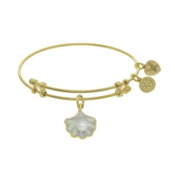 Brass with Yellow Shell Pearl Enamel Charm On Yell Ow Angelica Bangle