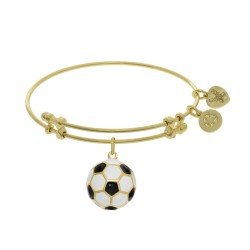 Brass with Yellow Finish Charm with Black+White Enamel Soccer Ball On Yellow Angelica Bangle