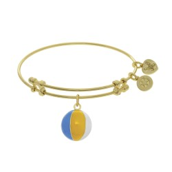 Brass with Yellow Beach Ball Enamel Charm On Yello W Angelica Bangle