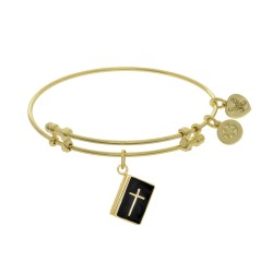 Brass with Black Enamel Bible Charm On Angelica Bangle