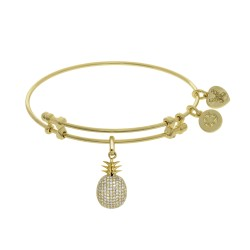 Brass with Yellow Pineapple Charm with Cz On Yellow Angelica Bangle