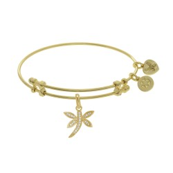 Brass with Yellow Dragonfly Charm On Yellow Angelica Bangle
