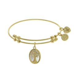 Brass with Yellow Tree Of Life On Created Mop Oval Charm On Yellow Angelica Bangle