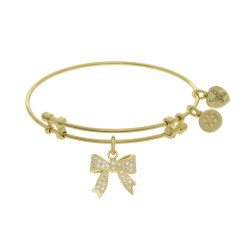 Brass with Yellow Bow Charm with Cz On Yellow Angelica Bangle