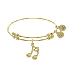 Brass with Yellow Music Sign Charm On Yellow Angel Ica Bangle