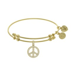 Brass with Yellow Peace Charm with Cz On Yellow Angelica Bangle